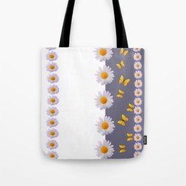 WHITE DAISIES & SPRING BUTTERFLIES & WHITE-GREY ART Tote Bag