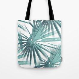 Teal Aqua Tropical Beach Palm Fan Vector Tote Bag