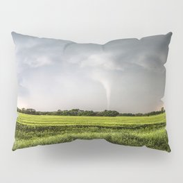 White Tornado - Twister Emerges from Rain Over Field in Kansas Pillow Sham