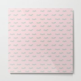 Small Pink Sleeping Eyes Of Wisdom-Pattern- Mix & Match With Simplicity Of Life Metal Print