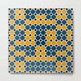 Pattern Formes Moutarde/Bleu Metal Print