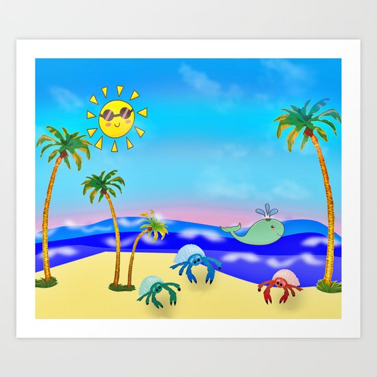 Beach Party for the Baby Crabs Art Print