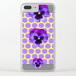 PURPLE SPRING PANSIES  LILAC POLKA DOT  PATTERN Clear iPhone Case
