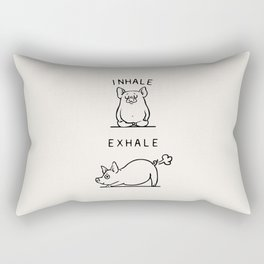 Inhale Exhale Pig Rectangular Pillow