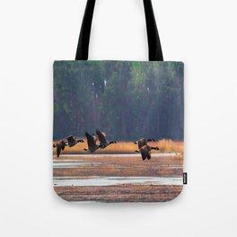 Flying Canadian Geese Tote Bag