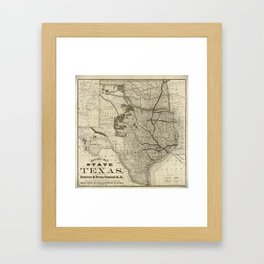 Old Map of Texas 1876 Vintage Wall map Restoration Hardware Style Map Framed Art Print