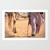 A walk in the desert Art Print