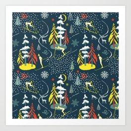 Retro Skiing  Art Print