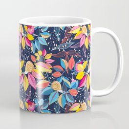 graphic seamless of colorful leaves and snails on a blue background Coffee Mug