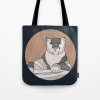 snow leopard Tote Bags featuring Snow Leopard by Diana Hope