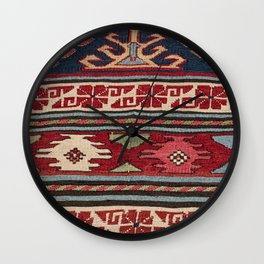 Yellow Red Star Fire Sumakh 19th Century Authentic Colorful Aztec Vibes Vintage Patterns Wall Clock