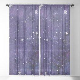 Watercolor galaxy - purple Sheer Curtain