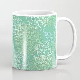 Pastel Peony and Leaf Pattern Design  Coffee Mug