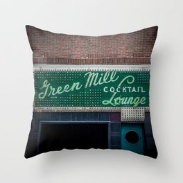 Green Mill Cocktail Lounge Vintage Neon Sign Uptown Chicago Throw Pillow
