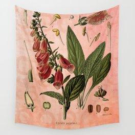 Vintage Botanical Illustration Collage, Foxgloves, Digitalis Purpurea Wall Tapestry