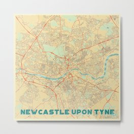 Newcastle upon Tyne Map Retro Metal Print