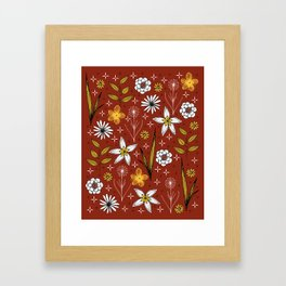 retro floral print on red Framed Art Print