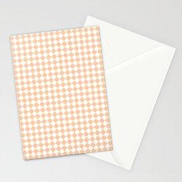 White and Deep Peach Orange Diamonds Stationery Cards