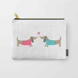 Cute dog lovers in love with heart Carry-All Pouch