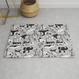 Geometric sweet wet noses // grey background black and white dogs Rug