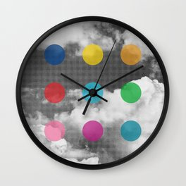 Storm Clouds + Colored Dots Wall Clock