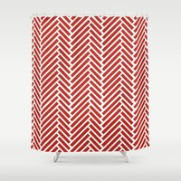 herringbone Shower Curtains featuring Herringbone Candy by Project M