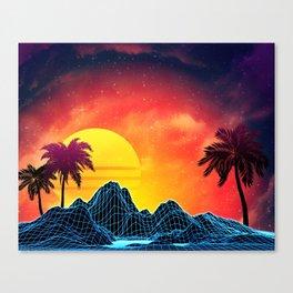 Sunset Vaporwave landscape with rocks and palms Canvas Print