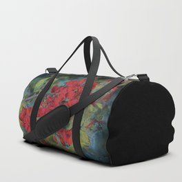 The flowering quince . Black background Duffle Bag