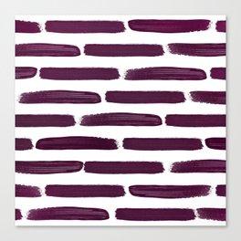 Modern Girly Wine Purple Brushstroke Stripes Canvas Print