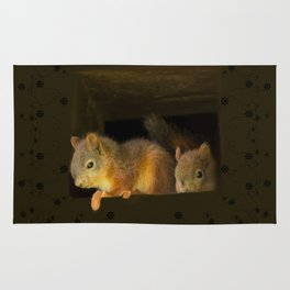 Young squirrels peering out of a nest #decor #buyart #society6 Rug