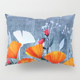 Summer night- Shadow of a Poppy meadow- Flowers Pillow Sham