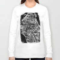 new york map Long Sleeve T-shirts featuring NEW YORK CITY MAP by Laura Ann