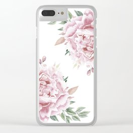 Pink Roses Duet Clear iPhone Case