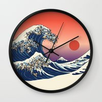 pug Wall Clocks featuring The Great Wave of Pug   by Huebucket