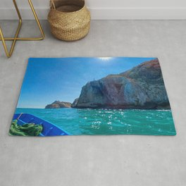 Boat trip around the mountain beaches of the mediterranean sea in Morocco Rug
