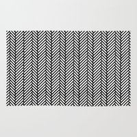 herringbone Area & Throw Rugs featuring Herringbone Black by Project M