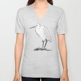 Grey Heron Minimalist Unisex V-Neck
