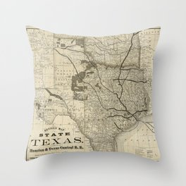 Old Map of Texas 1876 Vintage Wall map Restoration Hardware Style Map Throw Pillow