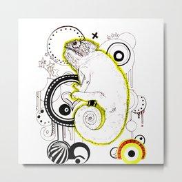 Vector Chameleon Lineart Metal Print