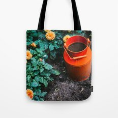 Milk Can and Orange Flowers Tote Bag