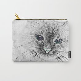 Siberian Kitty Cat Laying on the Marble Slab Carry-All Pouch