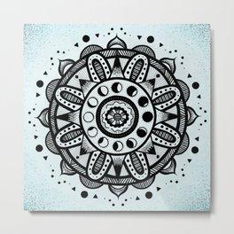 Moon Phases Mandala Metal Print