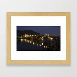 Heidelberg Bridge by night Framed Art Print