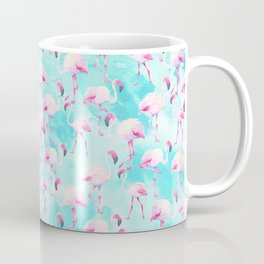 Modern hand painted teal watercolor pink flamingo Coffee Mug