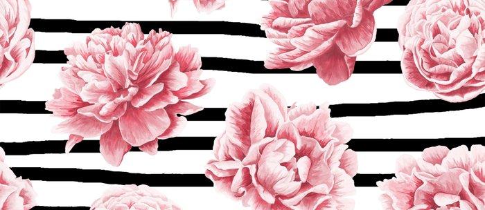 Simply Drawn Stripes and Roses Coffee Mug