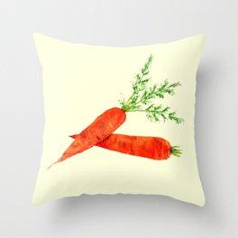 orange carrot watercolor painting Throw Pillow