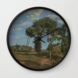 Frederic Bazille - Landscape by the Lez River Wall Clock
