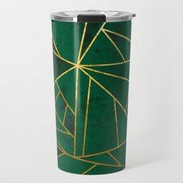 Emerald Green Modern Geometric Gold Lines Travel Mug