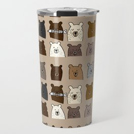 Bear Portraits on Brown Travel Mug