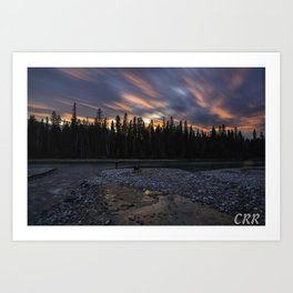 Confluence of the Blue Water and Columbia River at sunset Art Print